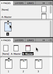 A typical Pages panel view with an A-Master page